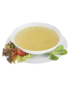 Klare Gemüsebrühe mit Kräutern, salzreduziert, instant, okZ, -A