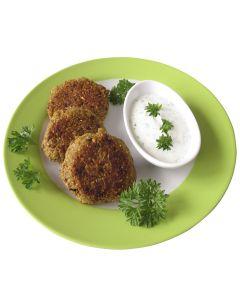 Bratlinge, sortiert je 3 x Kartoffel-Getreide-Bratling, Dinkel-Brokkoli-Bratling, Dinkel-Zucchini-Auberginen-Bratling
