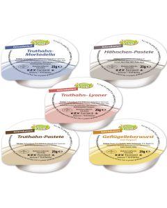 Leichte Kost Sortiment, sortiert je 20 Port. Truthahn-Mortadella, Hähnchen-Pastete, Truthahn-Pastete, Truthahn-Lyoner, Geflügelleberwurst, -A