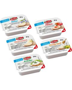 Frischkäsezubereitung, sortiert je 48 Port. Natur, Kräuter, Meerrettich, Honig-Senf, Pikant, okZ