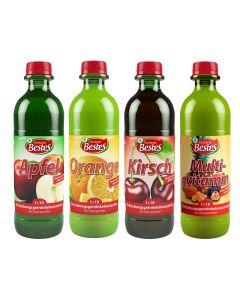 Getränkekonzentrat 1+19 sortiert, je 3 x Flasche Apfel, Kirsch, Orange, Multivitamin, -A
