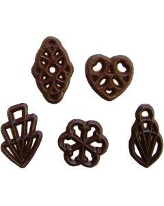 Schokoladen-Ornamente, zartbitter 5-fach sortiert ca. 1.100 Stück, okZ, -A
