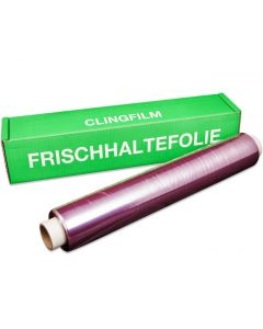 """Frischhaltefolie """"Pink"""" selbsthaftend in der Spenderbox 45 cm x 10 µm x 300 m"""