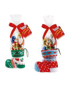 Weihnachtsstiefel mit Strumpf, gefüllt mit Hohlfiguren, Höhe 27cm
