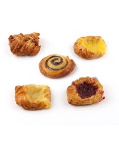 Mini Danish Selection Standard (je 24 Stück Zimt, Vanille, Himbeere, Apfel, Pecannuss)