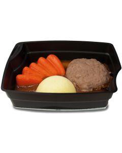Rinderfrikadelle, Karotten und Kartoffeln in Bratensoße mit Rosmarin passiert, okZ